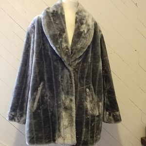 Jackets & Blazers - Silver Mink faux fur plus size coat